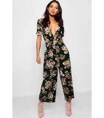 floral front culotte jumpsuit, green