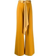 jonathan simkhai high-rise tie-waist flared trousers - yellow