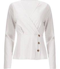 camiseta con botones laterales color blanco, talla 14