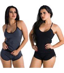 2 baby dolls click mais bonita liso paris algodão penteado cinza/preto