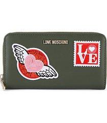 stamp appliqué zip-around wallet
