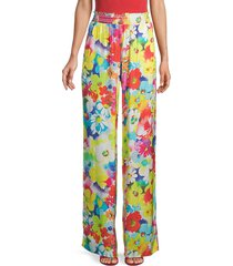 love moschino women's floral smocked-waist pants - floral multi - size s