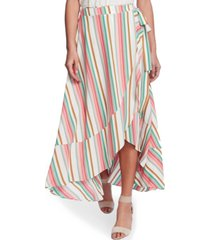 1.state striped wrap midi skirt