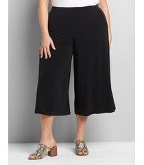 lane bryant women's knit kit pull-on wide leg capri 14/16 black
