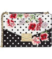 karl lagerfeld paris women's floral & polka dot crossbody bag - black floral