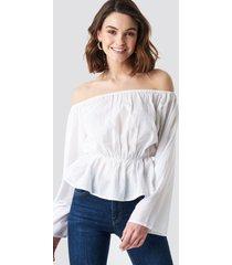 na-kd boho off shoulder flounce blouse - white