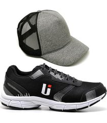 tênis masculino ultraleve treino academia conforto + boné - masculino