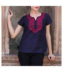 cotton tunic, 'midnight blue splendor' (india)