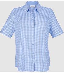 kortärmad blus med smårutigt mönster laura kent ljusblå::vit