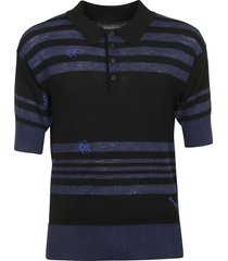 maison margiela stripe detail polo shirt
