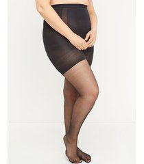 lane bryant women's ultra high-waist - 80 d shimmer sheer shaping pantyhose g-h black