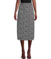 pure navy women's floral-print pencil skirt - black white - size xs