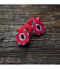czerwone oko - kolczyki soutache