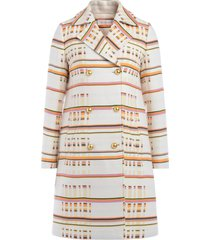 tory burch multi-colored patterned coat with double-breasted closure