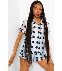 satijnen ombre pyjama set met shorts en stippen, multi