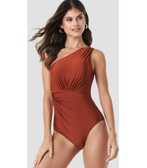 trendyol ruffle detail swimsuit - brown