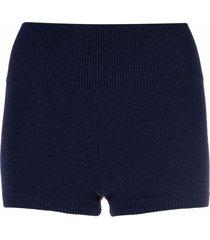 ami amalia merino-knit high-waisted shorts - blue