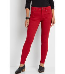 maurices womens high rise red double button jegging made with repreve