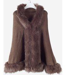 cappotti con collo scialle lavorato a maglia con collo in pelliccia ecologica donna