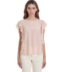 red valentino blouse in rose-pink silk