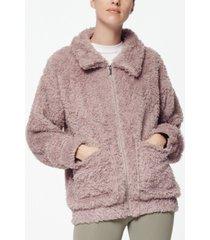 marc new york performance women's ultra soft faux fur patch pocket jacket