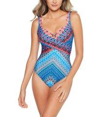 women's miraclesuit casablanca crisscross escape one-piece swimsuit, size 14 - blue