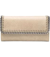 stella mccartney sand and silver continental falabella wallet