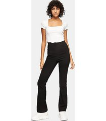 black stretch split flare pants - black