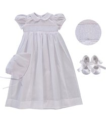 infant girl's carriage boutique smocked inset christening gown, bonnet & booties set