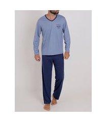 pijama longo masculino azul/azul marinho