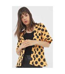 kimono amber poá amarelo/preto