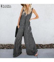 zanzea verano de las mujeres harem pantalones bib cargo ocasional rayada dungaree trajes -gris