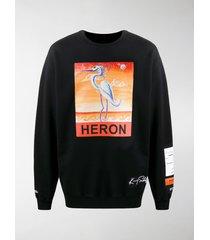 heron preston bird print sweatshirt