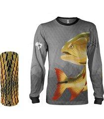 camisa + máscara pesca quisty dourado o rei do rio cinza proteção uv dryfit infantil/adulto - camiseta de pesca quisty
