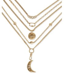 "lucky brand gold-tone crystal & stone celestial-charm convertible layered pendant necklace, 17-1/2"" + 2"" extender"