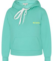 natasha zinko teal sweatshirt for girl with noen yellow logo