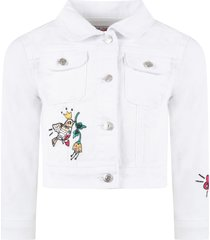 sonia rykiel white jacket for girl with patches