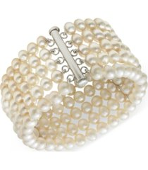 belle de mer cultured freshwater pearl five-row bracelet in sterling silver (6-7mm)