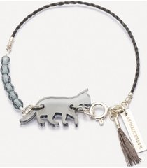 bransoletka subtile na szarym sznureczku z kotem