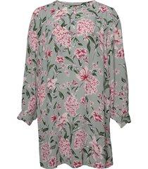 tunic plus floral print viscose buttons kort klänning grå zizzi
