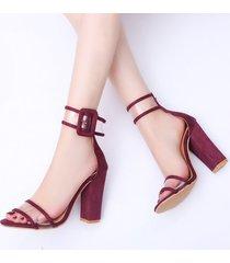sandalias de tacón alto de verano de moda de mujer -rojo
