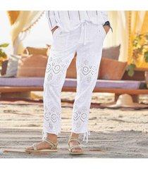 sundance catalog women's everyday eyelet pants in terracotta 8