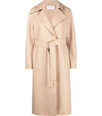 harris wharf london belted mid-length coat - neutrals