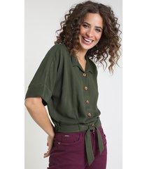 camisa feminina blusê com nó manga curta verde escuro