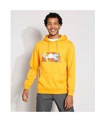 blusão de moletom homer simpson com bolso canguru amarelo