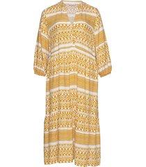 carmarrakesh 3/4 calf dress knälång klänning gul only carmakoma
