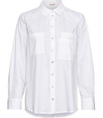 overhemdblouse van bio-katoen met wijd uitstaande kraag en manchetten, wit 38