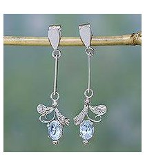 topaz earrings, 'ice blue blossom' (india)