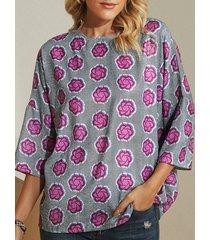 camicetta casual da donna con scollo a cuore stampato a fiori vintage