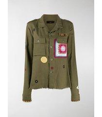 amiri appliqué detail military jacket